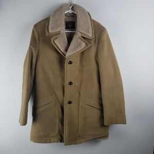 Mens Vtg TRENCH Duffle COAT Sherpa Suede